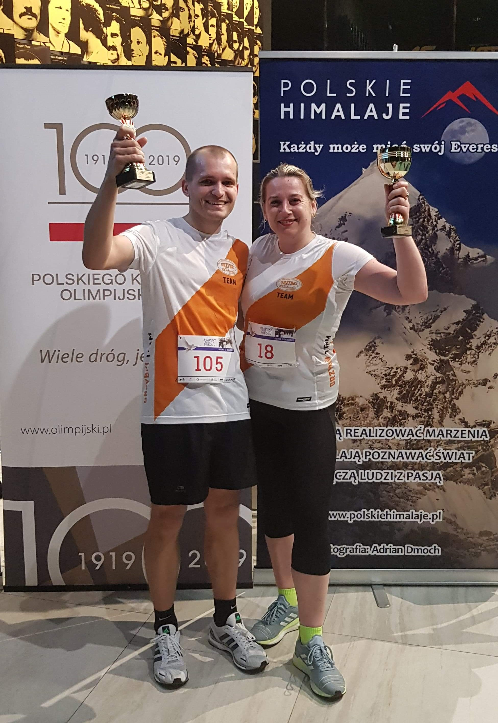 Ania i Łukasz na mecie, Łukasz znów na podium - gratulacje!   Etapowy Maraton Pokoju - Bitwa o Bolonię - Warszawa 25 kwietnia 2019r.