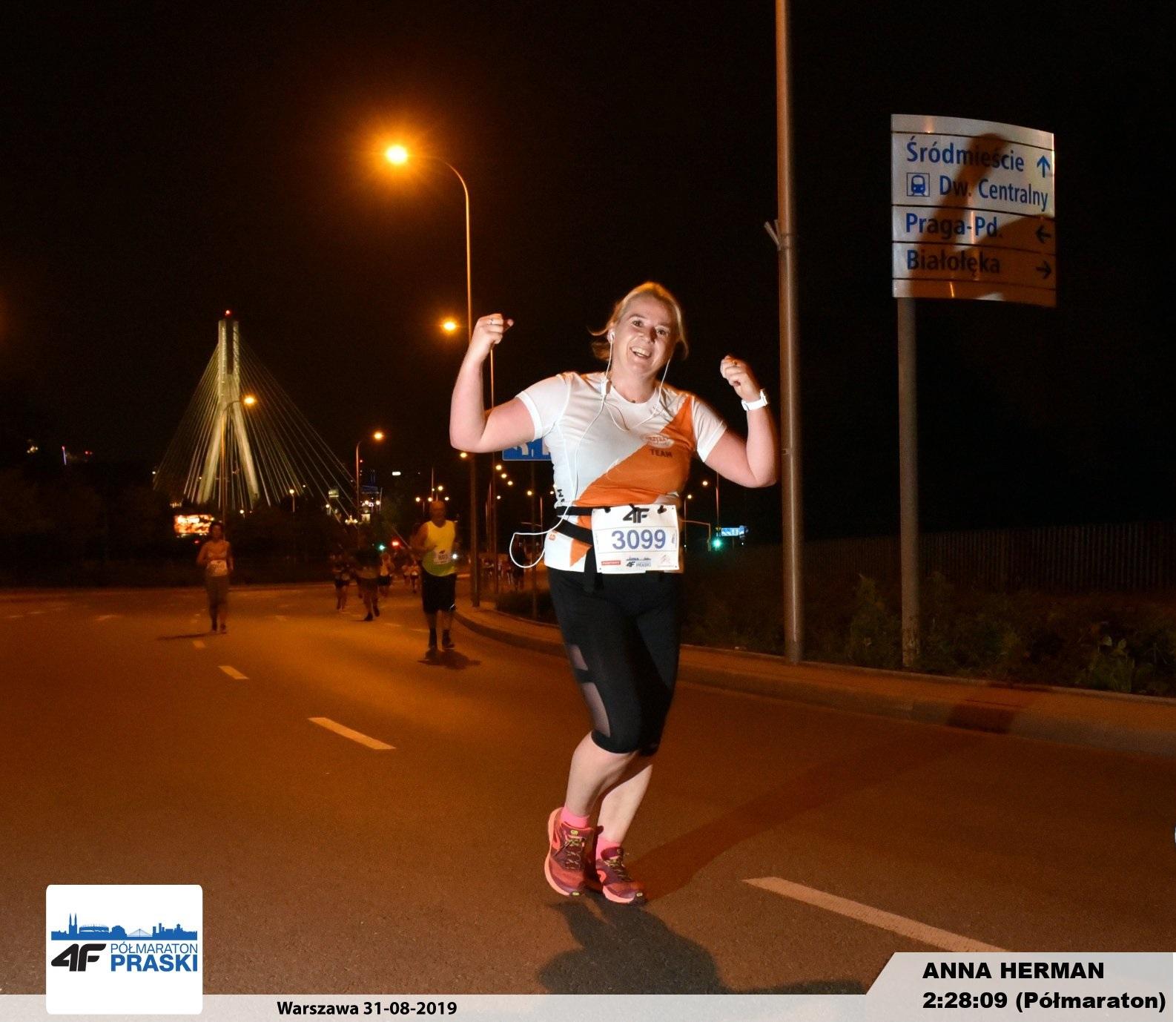 Nasza Ania w drodze po swój życiowy rekord!   Półmaraton Praski - Warszawa 31 sierpnia 2019 r.